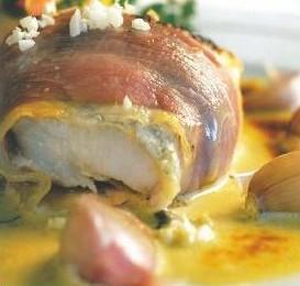 Roulé de lotte et saumon au jambon